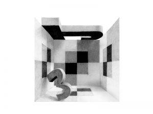 平面構成 アルファベットとパースによる構成 デッサン・ドローイング