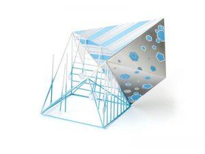 晴れ、雨、雪をテーマに竹ひごを使った立体作品 授業:造形技法