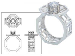 授業名:集中講義3/3年次 課題名:CADを用いたリング