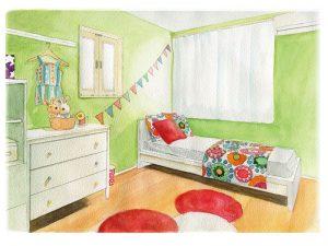 授業名:デッサン・ドローイング/1年次 作品名:室内パース・家具の描写