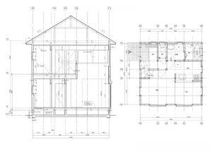 2D CAD/1年次 矩計(かなばかり)図・平面図